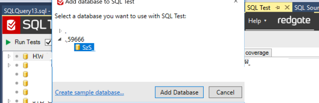 4. Adding database to SQLTest